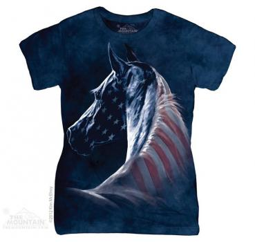 wildlife mountain the mountain batik patriotic horse damen t shirt. Black Bedroom Furniture Sets. Home Design Ideas