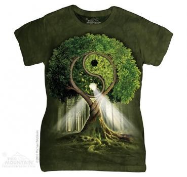 The Mountain Batik Yin Yang Tree Damen T-Shirt
