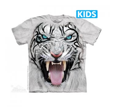 The Mountain Kids T-Shirt Big Face Tribal White Tiger