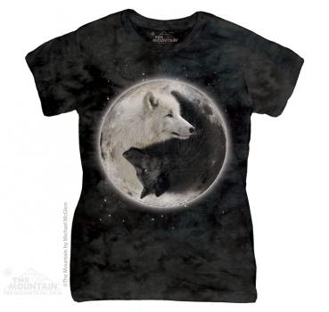 The Mountain Batik Yin Yang Wolves Damen T-Shirt