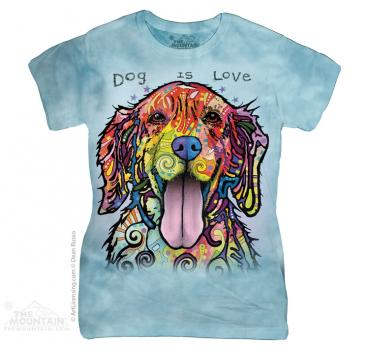 The Mountain Batik Dog is Love Damen T-Shirt