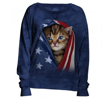 The Mountain Damen Crew Pullover Patriotic Kitten
