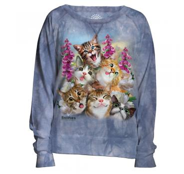 The Mountain Damen Crew Pullover Kittens Selfie Blue
