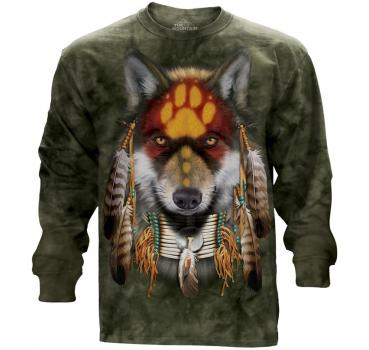 The Mountain Langarm T-Shirt Native Wolf Spirit